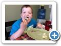 Eating potato salad!